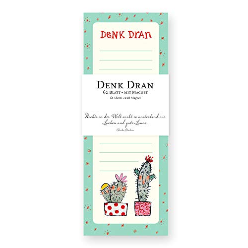 Notizblock/Notizzettel gebunden, 60 Blatt, liniert, magnetisch für Kühlschrank mit Motiv, Katus, Einkaufsliste, Sterne, bunt, türkis, mint