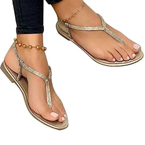 FASZFSAF Sandalias Verano 2021, Nuevas Sandalias Moda con Diamantes Imitación Chanclas Planas Sandalias Playa Mujer, para Interiores Exteriores,Oro,35