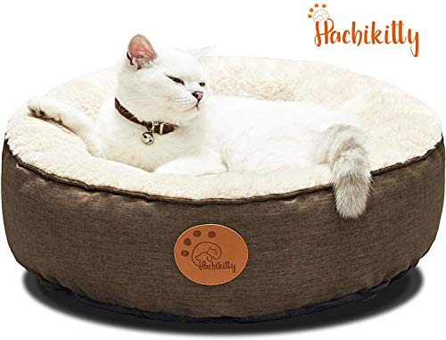 HACHIKITTY Washable Cat Warming Bed Round, Cat Beds Indoor Cats Medium, Small Pet Bed Machine Washable,18