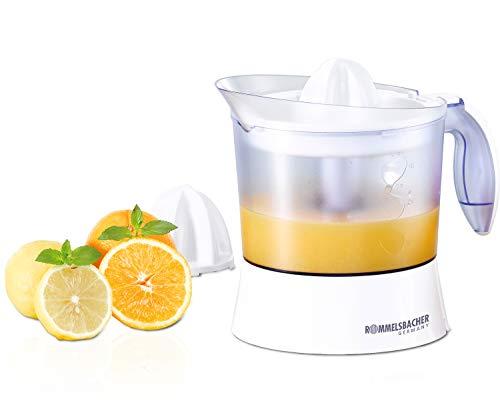 ROMMELSBACHER Zitruspresse ZP 40 – 1 Liter Saftbehälter, leiser Motor, Rechts-/Linkslauf, Einstellung des Fruchtfleischgehaltes, 2 Presskegel für große und kleine Früchte, 40 Watt, weiß