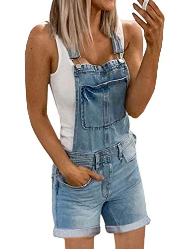 Onsoyours Tuta di Jeans Donna Tuta di Jeans Tuta Salopette di Jeans Slim Tuta Salopette Pantaloni Denim Pantaloncini Dungarees Senza Maniche Tute Casual A Blu M