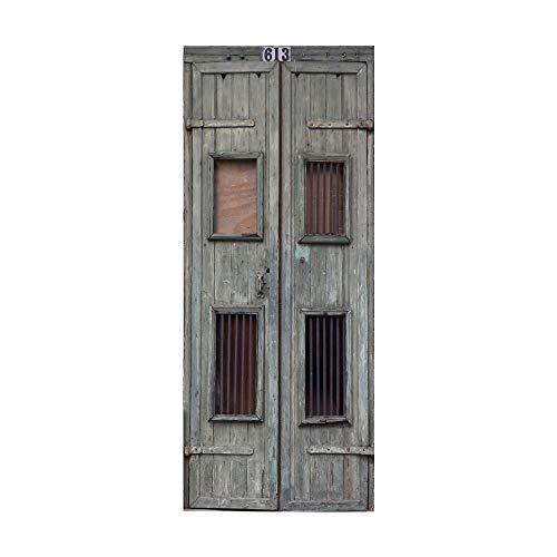 KEXIU 3D Madera maciza PVC fotografía adhesivo vinilo puerta pegatina cocina baño decoración mural 77x200cm