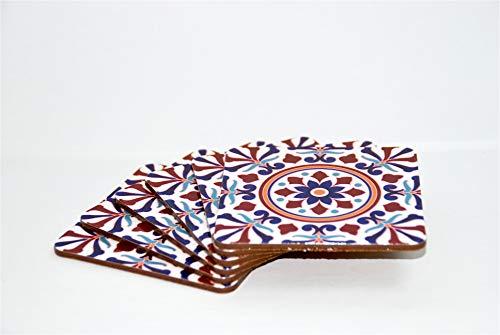 LusARO Design onderzetters in 6-delige set - Decoratieve onderzetters met kurkrug, voor glazen, kopjes, flessen, kaarsen op uw eettafel, salontafel of bartafel