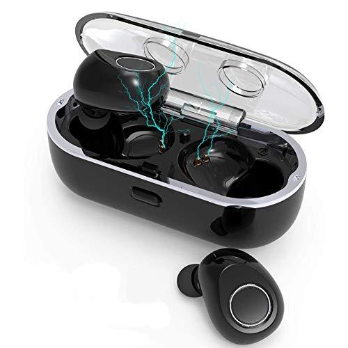 Tingda Bluetooth Kopfhörer, Kabellose Bluetooth Ohrhörer in Ear Bluetooth 5.0 Headset, True Wireless Stereo Earbuds, Binaurale Anrufe mit MIC und Portable Mini Ladekästchen, für Jogging, Soprt-Schwarz