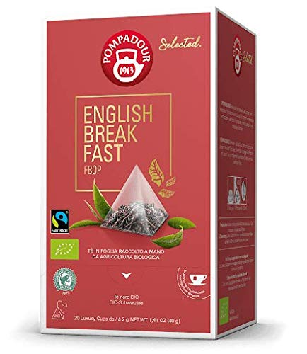 Pompadour 1913 Bio Schwarzer Tee Englisches Frühstück - 1 x 20 Teepyramiden (40 Gramm)