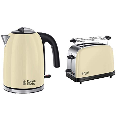 Russell Hobbs Colours Plus Hervidor de Agua Eléctrico (2400 W, 1,7 litros, Acero Inoxidable, Crema) ref. 20415-70 + Colours Plus...