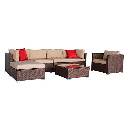 YUMUO 7 Pieces Sectional Sofa Garden Couch Set,Wood Grain Wicker Patio Furniture Set,Outdoor Bistro Set Porch Furniture