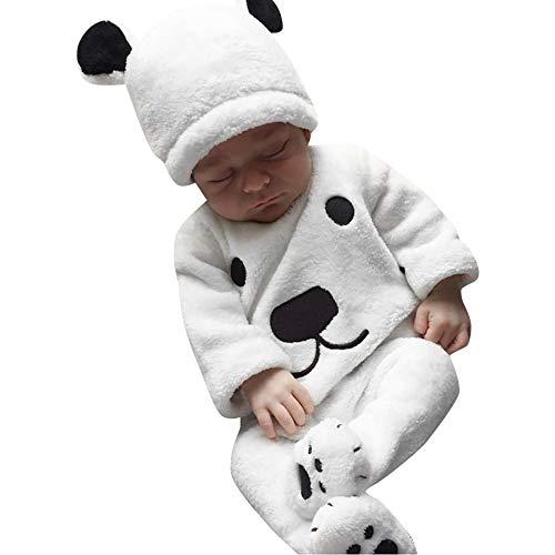 DAY8 Vêtement Bébé Garçon Hiver Cérémonie Ensemble Bébé Garçon Naissance Automne Pas Cher Manteau Garçon Sweat t-Shirt Pull Pyjama Fille Haut Top Ours + Pantalons + Bonnet (70(0-6 Mois), Blanc)