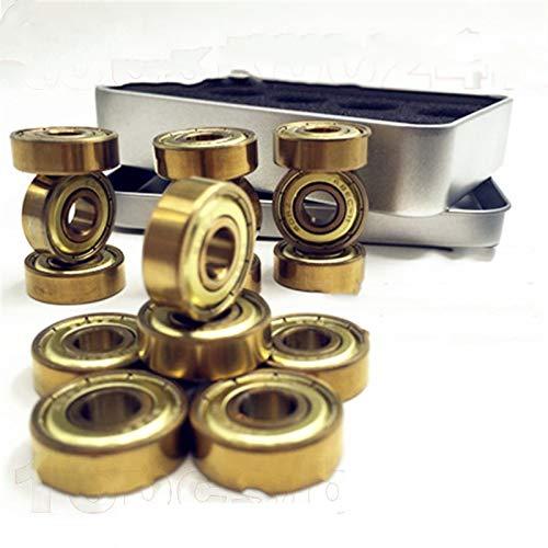 TSAUTOP Newest 16pc 608z / 627z Tatinium Gold Rodamientos de Skate Quad Artistic Skate Rodamiento Partneral Piezas de Patinaje en línea Patines Scoote (Color : 16pc 608zz Gold)