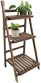 Escalera de madera para macetas con 3estantes;
