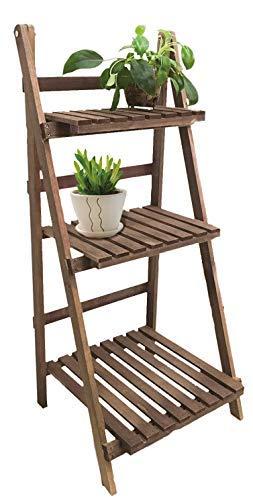Spetebo Holz Pflanztreppe mit 3 Ablagen - klappbare Pflanz Etagere - Blumentreppe für Innen und Außen