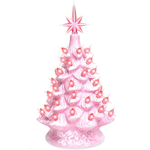 Best Choice Products 11in Pre-Lit Hand-Painted Ceramic Tabletop Christmas Tree Holiday Decoration w/Lights, Star Topper - Pink