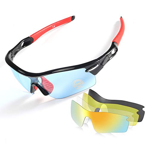 Polarized Sports Sunglasses,CrazyFire UV 400 Protection Unbreakable Sports Glasses with 5 Set of...