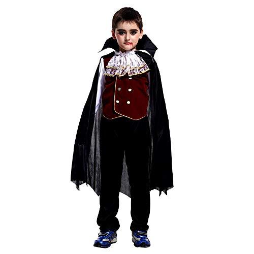 HARRYSTORE Kinder langärmeliges Shirt + Pants + Umhang Halloween Cosplay Vampir Leistung Kostüme Kleinkind Kinder Jungen Mädchen Cosplay Vampire Performance Costumes