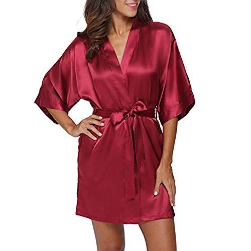 Zegeey Damen Morgenmantel Kimono Kurz Robe Bademantel Nachtwäsche Sleepwear V Ausschnitt Sommerkleid mit Gürtel Dem Satinstoff für Brautjunfer Hochzeit Karneval Fasching
