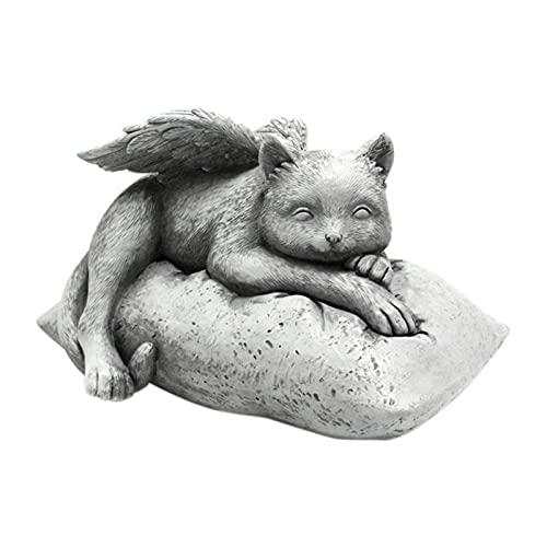 ShunFuET Creative Angel Mascota Estatua, Dormir En Alas De Ángel Memorial Jardín, Cat Angel Pet Memorial Grave Marcador Tribute Estatua, Escultura Decorativa Escultura Grave Marcador Figurine