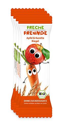 """Freche Freunde Bio Riegel \""""Apfel & Karotte\"""", ohne Zuckerzusatz, für Kinder & Babys ab 1 Jahr, 6er Pack, 6 x (4 x 23g)"""