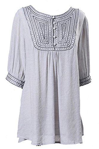 Kafeimali Women's Embroidery Bohemian Shirts Tunic Peasant Tops Mexican Blouse (Gray)