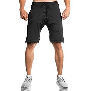 BROKIG ジムショートパンツ メンズ フィットネス ジップポケット トレーニングパンツ ランニング短パン 筋トレ ストレッチ (M,ブラック)