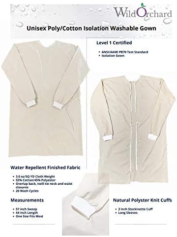 Unisex Poly Cotton Price reduction Isolation Gown Washable Beige Size One Mesa Mall