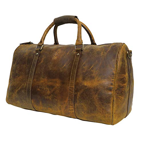 Leather Travel Duffel Bags for Men - Holdall Airplane Underseat Carry On Luggage by Rustic Town