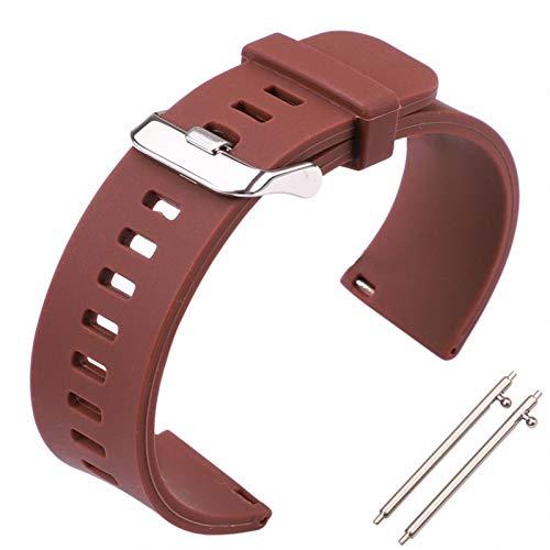 Silicone Ruber Reloj Banda de correa 18 mm 20 mm 22 mm 5 colores relojes de relojes a prueba de agua Accesorios de reloj de reloj de liberación rápida ( Band Color : Brown , Band Width : 22mm )