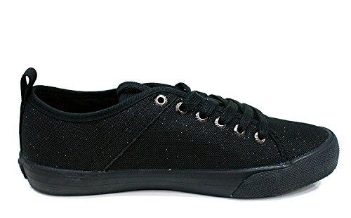 Guess Damen Sneaker Jolie Canvas Metallic Black 35