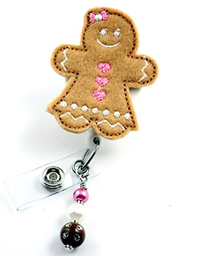 Gingerbread Girl Pink - Nurse Badge Reel - Retractable ID Badge Holder - Nurse Badge - Badge Clip - Badge Reels - Pediatric - RN - Name Badge Holder