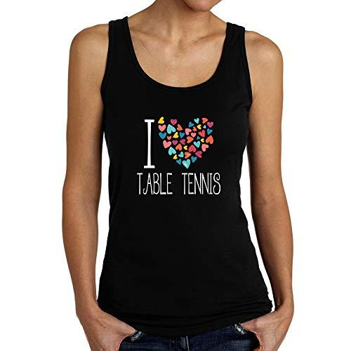 Teeburon I Love Table Tennis Colorful Hearts Camiseta De Tirantes Mujer