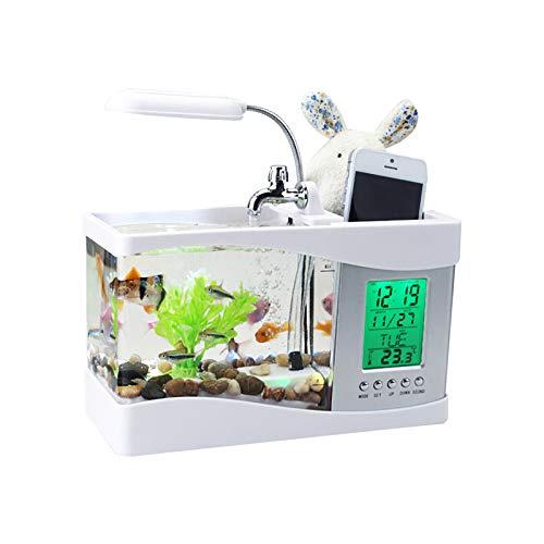 Whuooad Mini USB acuario de escritorio tanque de peces con agua corriente LCD reloj alarma titular de la pluma colorida lámpara LED calendario de luz sostiene para la decoración del hogar oficina