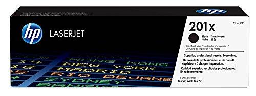 HP 201X (CF402X) Gelb Original Toner mit hoher Reichweite für HP Color Laserjet Pro M252, M274n, M277 + HP 201X (CF400X) Schwarz Original Toner mit hoher Reichweite