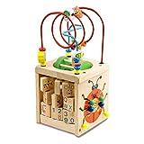 BeebeeRun Cube d'Activité Bébé en Bois 6 en 1 Centre d'Activité Jeu d'éveil Premier Âge Jouet Educatif Interactif Cadeau pour Les Jeunes Enfants (Natural)