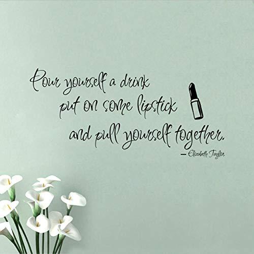 Olivialulu Inspirational Muursticker voor meisjes, Elizabeth Taylor Quote - Breng een aantal lippenstift aan op het interieur van het meisje Art Deco Color Size Can Be Customized