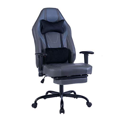 Videospiel-Stuhl,Ergonomischer Computersessel mit Massage-Lendenwirbelstütze und einziehbarer Fußstütze,Bürostuhl für die Geschäftsleitung,Bürostuhl mit hoher Rückenlehne,verstellbarer Drehstuhl