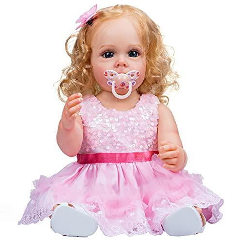 YIHANGG 55cm Cuerpo Completo De Silicona Reborn Baby Muñecas Niña Pequeña Que Acompaña 22 Pulgadas Princesa Recién Nacida Rubia Vestido Rosa Juguete Cumpleaños
