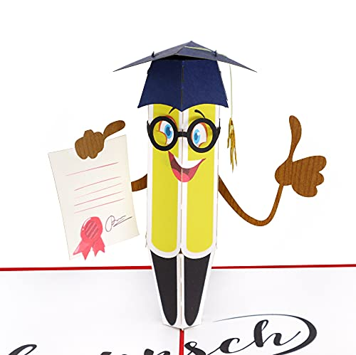 MOKIO® Pop-Up Glückwunschkarte [NEU!] – Glückwunsch zur bestandenen Prüfung / zum Abschluss – 3D Geschenkkarte zum Doktortitel, Schulabschluss, Abitur, Bachelor oder zum Master
