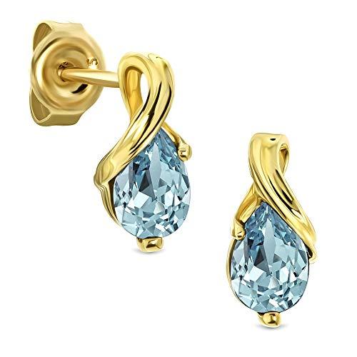 Miore Ohrringe Damen tropfen Ohrhänger mit Edelstein/Geburtsstein Topas in blau aus Gelbgold 9 Karat / 375 Gold, Ohrschmuck