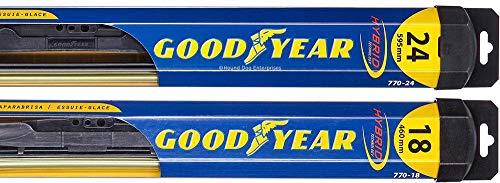 Hybrid - Windshield Wiper Blade Bundle - 3 Items: Driver & Passenger Blades & Reminder Sticker fits 2002-2008 Toyota Corolla (S)