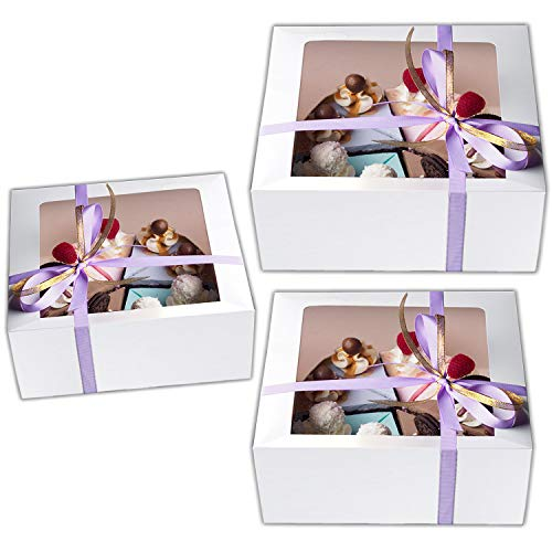 Cake Boxes 12 x 12 x 5, Cake Boxes 10 x 10 x 5 and Cake Boxes 8 x 8 x 4, Bakery Box Has a Clear Window, Cake Supplies, 5 Pack of Each.