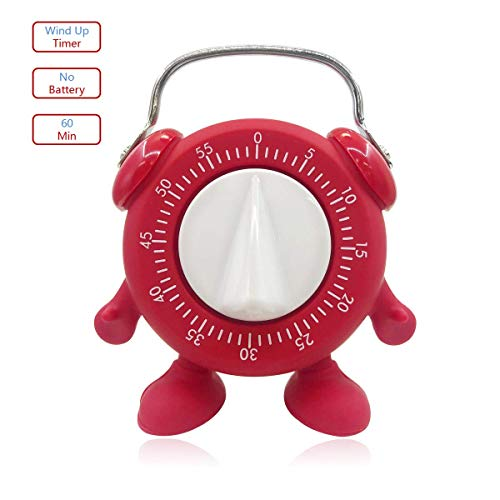 Keleely Kitchen Timer, for Baking Teaching Cooking Egg Potty Training Cute 60 Mins Twist Wind-Up Timer with Ring Alert, No Battery (Red)