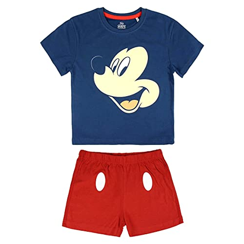 ARTESANÍA CERDÁ Pijama corto de verano de 2 piezas para niño Mickey Mouse Disney   100% algodón suave   azul rojo   2 – 3 – 4 – 5 6 años Smile   Blue Red 6 años