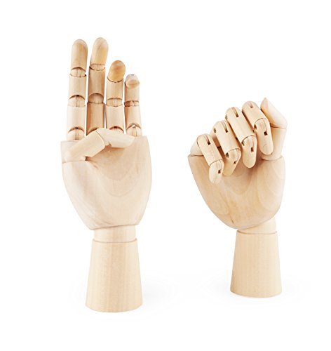 "Fashionclubs 7"" Wooden Sectioned Opposable Articulated Left/Right Hand Figure Manikin Hand Model for Drawing, Sketching, Painting (Left+Right Hand)"
