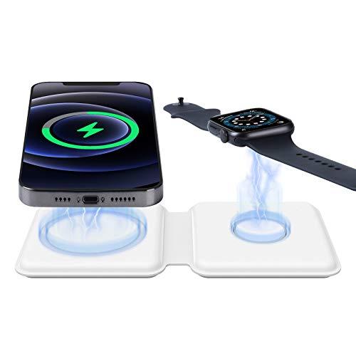 ALLWIN Cargador Inalámbrico 2 En 1, Soporte De Carga Rápido Qi Magsafe De 15W para Apple Watch Airpods 6 5 4 3 2 Estación De Carga Inalámbrica para iPhone 12 Mini Pro MAX