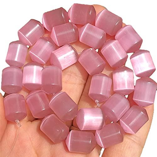 Natural rosa ojo de gato ópalo piedra cilindro espaciador suelto luna perlas para hacer joyas DIY pulsera collar encontrar accesorios 10x4mm 27pcs