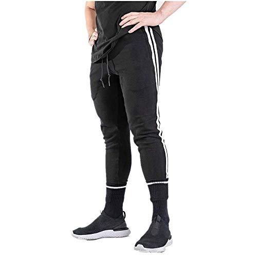 MINIKIMI trainingsbroek mannen lang katoen joggingbroek met strepen chino jogger broek slim fit stretch sportbroek comfortabele hardloopbroek