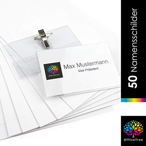 OfficeTree 50 Namensschilder mit Halter-Clip und Ansteck-Nadel - Kunststoff Namensschild für Visitenkarten bis 90x55 mm - Namensschilder für Kleidung - Transparent