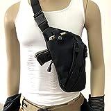 Men's Shoulder Bag Gun Case Single Bag Tactical Gun Bag Pistol Hand Soft Pistol Cases (Right Shoulder, Black)