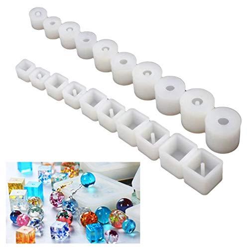 FunPa 20 Unids Cube Bead Moldes Moldes De Resina Epoxi Reutilizable para Joyería Molde Epoxi De Resina para Cabujón Piedra Preciosa Crafting Bead Molde Cube Bead Molde Silicone