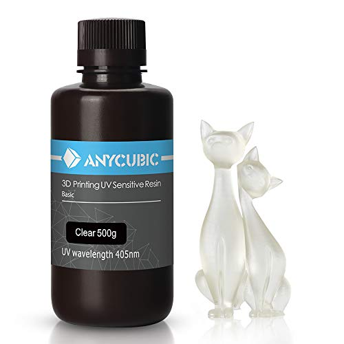 ANYCUBIC 3D Printer Resin LCD UV 405nm Rapid Photopolymer for LCD/DLP/SLA 3D Printers, 500g Clear