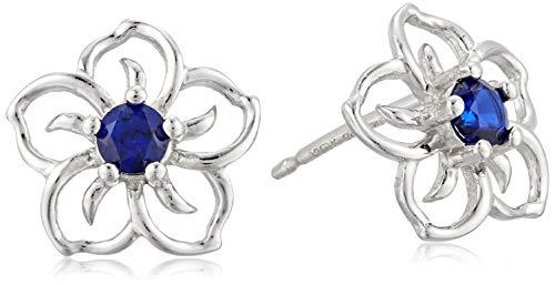 Sterling Silver Created Blue Sapphire Flower Stud Earrings